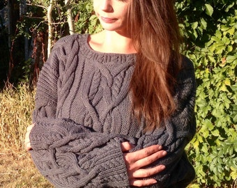 Hand Knit Sweater, Women's sweater, Sweater, Cable sweater