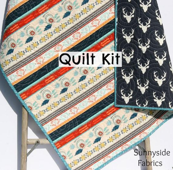 Line Art Quilt Kit : Aztec deer quilt kit tribal baby bedding blanket project art