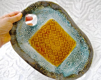 Moroccan Decor, Cheese Board and bowl, Textured Cheese Platter, Teal amber, Serving Platter,  Cheese Plate, Lace Pottery, Stamped Platter