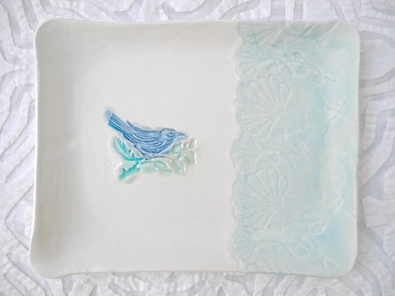 Bird Tray, blue bird, Ceramic serving dish, spoon rest, hand painted dish, aqua white dish, small tray, lace pottery,  Pastel Easter decor