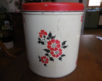Vintage 1950s to 1960s Large Tin Canister Storage Kitchen Red and Black Flowers Metal Decoware Not Perfect