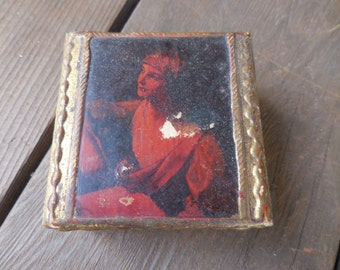 Vintage 1950s to 1960s Small Wood Box Trinkets Jewelry Florentine Italy Tiny Gilded Hinged Woman Not Perfect