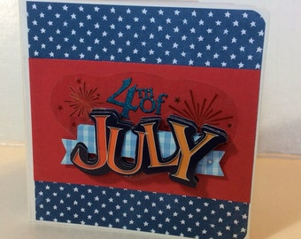 4th of July scrapbook premade pages Chipboard Board Book Photo Album - 5x5 parade scrapbook