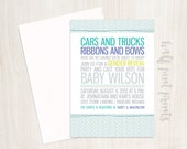 Trucks and Bows Gender Reveal Party Invitation