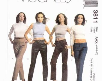 McCalls Misses Jeans Four Styles Mid Rise, Low Rise, Hip Hugger Sizes 4-6-8-10 Uncut Pattern FF