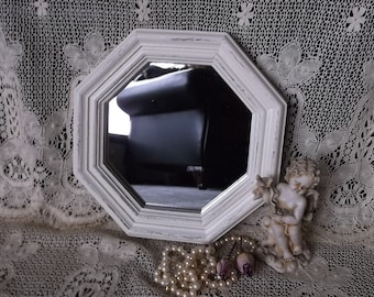 Octagon mirror, shabby and chic, Heirloom white, repurposed