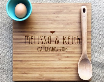 Bamboo Cutting Board, Custom Name And Established Date Engraving, Wedding or Anniversary Gift, Personalized Cutting Board