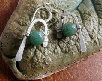 Sterling Silver & Green Aventurine Earrings