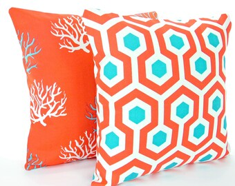 Aqua Red Outdoor Throw Pillow COVERS Beach Cushion Pair of Two Decorative Red Turquoise Cottage Couch Patio Pilllows Outdoor Cushion Cover