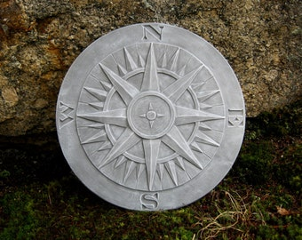 Compass Statue, Garden Decor, Concrete Garden Plaque, Cement Compass Figure, Garden Statues, Concrete Compass, North, South, East, West, Art