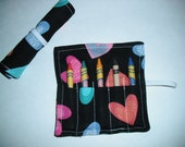 Valentine Birthday Party Favors, Crayon Roll Up, Hearts, Valentine Favors, Valentine Crayon Roll, Crayon Roll