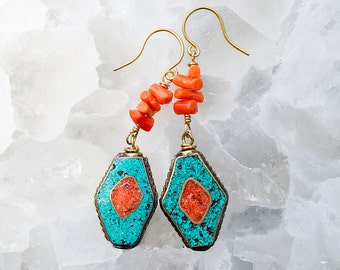 Tibetain Inlay Turquoise and Coral Dangle Prayer Earrings