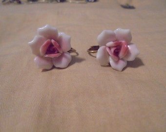 Vintage Porcelain Miriam Haskell Clip Earrings
