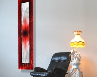 Original vertical horizontal sculpture Abstract Metal art red painting new brilliant 3D effect modern office home wall decor unique handmade