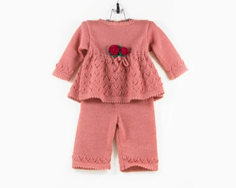 Knitted Baby Girl Dress and Pants - Pink, 6 - 12 months