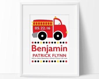 fire truck nursery, baby boy personalized, firefighter nursery, birth announcement wall art, birth stats, baby boy nursery, boys room decor