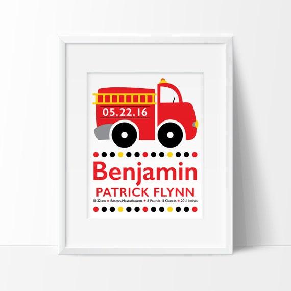 Fire Truck Nursery Baby Boy Personalized Firefighter