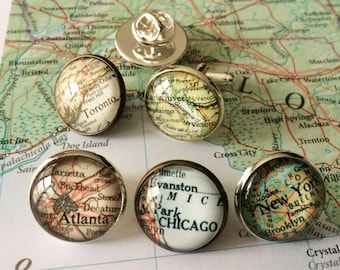 Custom MAP TIE TACK / Personalized Map Tie Tack / Groomsmen Gift / You Pick Location / Vintage Map Lapel Pin / Stocking stuffer / gift box