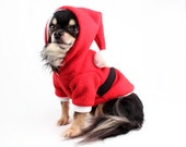Santa Dog Costume Red Christmas Dog Hoodie Sweater
