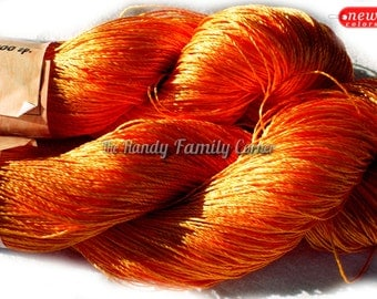 "Viscose Silk Yarn: light orange col. 21 knitting and crochet lace yarn, vivid color yarn. Yarn ""ajur"". Rayon yarn lace yarn crochet yarn DSH"
