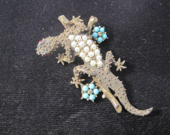 Red Eyed Dragon Lizard Brooch with Faux Turquoise and Pearl Beads