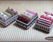 Dollhouse fabric in storage box, miniature sewing, dollhouse fabric, miniature store, miniature sewing room