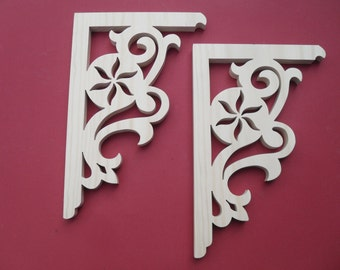 Two (2) Victorian Gingerbread Screen Door Trim/ Brackets / Shelf Brackets / Porch Brackets