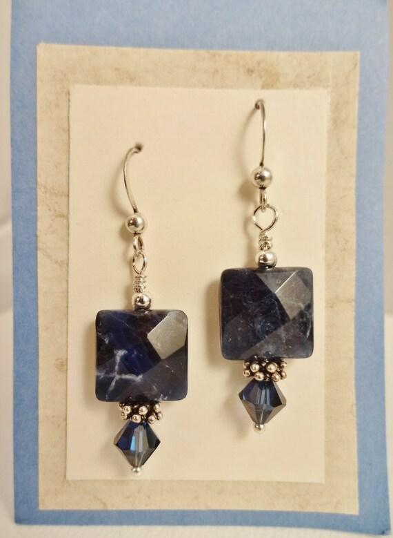 Sodalite Earrings, Blue Stone Earrings, Gemstone Earrings, Chunky Stone Square Earrings, Sodalite & Swarovski Earrings Stone Jewelry