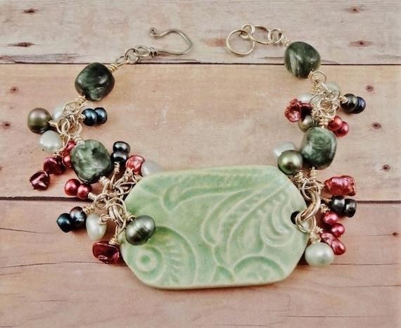 Seraphinite, Ceramic and Freshwater Pearls Bracelet, Green and Rose Jewelry, OOAK Jewelry, Artisan Jewelry
