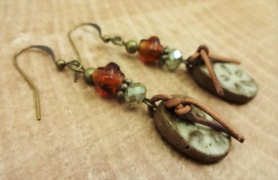 Rustic Boho Artisan Clay Earrings, Artisan Ceramic Earrings, OOAK earrings, Brown Tan Amber Green Earrings, Ceramic Leather Antique Brass