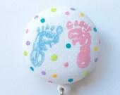 Baby Feet Badge Reel - Baby Badge Holder - ID Name Badge - Footprints Name Badge - Nurse Gift - New Mom Gift - Fabric Badge Reel
