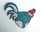 Reserved for Ayca... Pottery Chicken Cockerel Wall Plaque stoneware ceramic  turquoise and speckled blue plus others