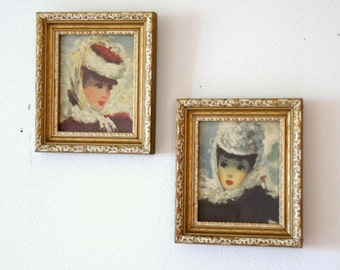 Impressionist Art Prints: Small Framed Art, Shabby Gold Frames, Girls in Hats Portraits