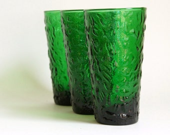 Vintage Green Glasses, Anchor Hocking Milano Ice Tea Tumblers, Forest Green Glassware