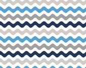 STORE CLOSING Sale Riley Blake Small Wave Blue and Gray 1 yard