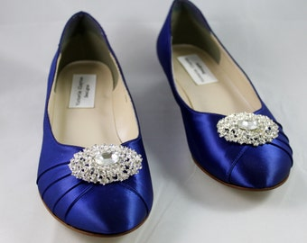 Royal Dark Blue Wedding Flat  - Size 10- Sale