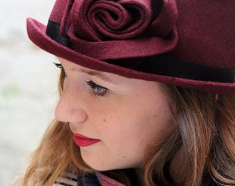 Sculpted wool felt hat. Millinery hat, hand blocked angular pillbox with flower detail. Made to order.