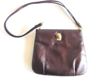 Chocolate Brown Ruth Saltz Lion Head 1970s Shoulder Bag