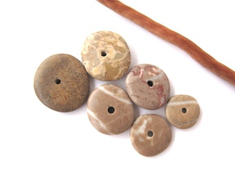 Stone Spacers Rock Cairn Center Drilled Beach Stones Diy Jewelry Mediterranean Natural Stone Beads Beach Stone OATMEAL DONUTS 11-20 mm
