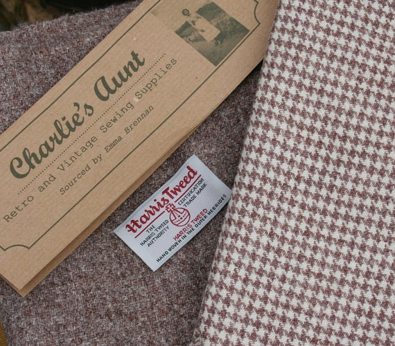 Piece of handwoven Harris Tweed in a marled pinky tone with a matching piece of dog-tooth check vintage tweed fabric