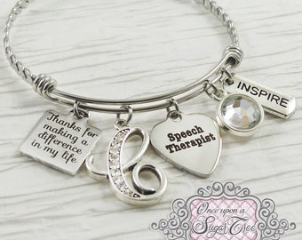 Speech Therapist Gifts, Speech Therapy, Thank you Bracelet, Letter Bangle Bracelet, Personalized Jewelry- Inspire, School, Special Needs