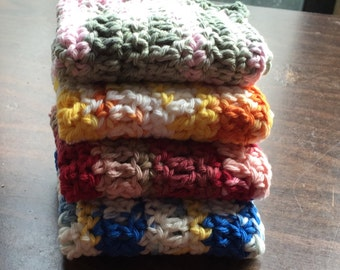 4 Large dish cloths made with 100% cotton yarn 4 Different Varigated colors