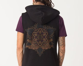 Black Hood Vest Zip up Jacket Sleeveless Hoodie With Sacred Geometry Yantra Screenprint -Mens Vest With Hood, Psy Clothing