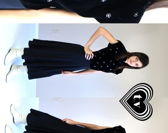 vtg 30s Black VELVET Rhinestone Flowers COCKTAIL DRESS M party Bias Cut pinup madmen bombshell old Hollywood holiday party