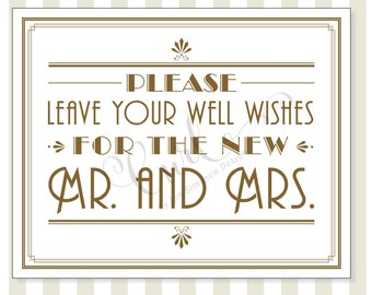 Art Deco Guest Book Signage, 8x10 Wedding Signage, Gold Well Wishes Sign