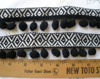 "Tribal Woven Ribbon Pom Pom Trim black & white ribbon black poms 1.75"" wide Boho embellishment BTY costume home decor pillow bedspread"