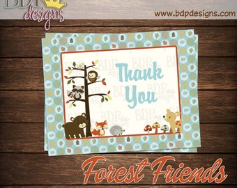 """Forest Friends Woodland Thank you Card (4.25""""x5.5"""")"""