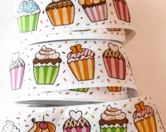 Cupcake Ribbon, Wide Grosgrain Ribbon,  Frosted Cupcakes and Sprinkles, Birthday Ribbon, Food, 4 YARDS, 1.5 inches wide, CLEARANCE Ribbon
