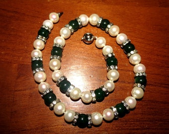 Large Fresh Water Pearls Rhinstones and Glass Beads Necklace #032