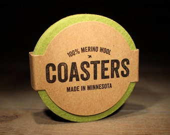 Groomsmen Gift - 100% Wool Round Felt Coasters - 5mm Thick German-milled Felt - Rich, Lightfast Colors - Pistachio Green